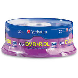 Verbatim DVD+R DL 8.5GB 8X with Branded Surface (20-Pack Spindle)