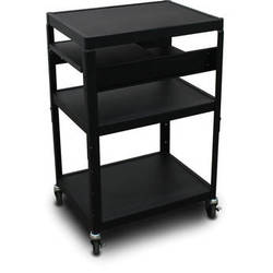 "Marvel Vizion Spartan Series MV2642 24 x 18"" Height-Adjustable A/V Cart with 2 Pull-Out Side Shelves (Black)"