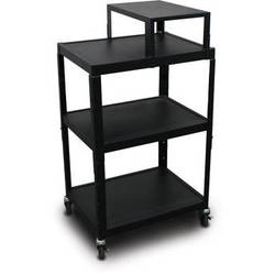 "Marvel Vizion Spartan Series MV2642 24 x 18"" Height-Adjustable A/V Cart with Expansion Shelf (Black)"