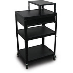 "Marvel Vizion Spartan Series MV2642 24 x 18"" Height-Adjustable A/V Cart with with Expansion Shelf & 1 Pull-Out Front Shelf (Black)"