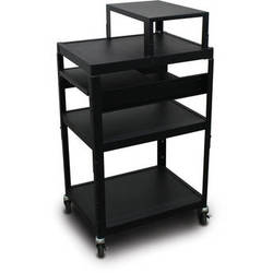 "Marvel Vizion Spartan Series MV2642 24 x 18"" Height-Adjustable A/V Cart with with Expansion Shelf & 2 Pull-Out Side Shelves (Black)"