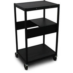 Marvel Vizion Spartan Series MVBFEE2418-01 Classroom Media Projector Cart with 1 Pull-Out Side Shelf (Black)