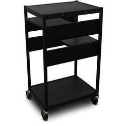 Marvel Vizion Spartan Series MVBFEE2418-02 Classroom Media Projector Cart with 2 Pull-Out Side Shelves (Black)