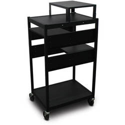 Marvel Vizion Spartan Series MVBFES2418-02 Classroom Media Projector Cart with 2 Pull-Out Side Shelves & Expansion Shelf (Black)