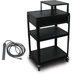 "Marvel Vizion Spartan Series MV2642 24 x 18"" Height-Adjustable A/V Cart with with Expansion Shelf, 1 Pull-Out Front Shelf, & UL Listed 8-Outlet Electrical Unit (Black)"