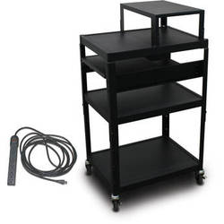 """Marvel Vizion Spartan Series MV2642 24 x 18"""" Height-Adjustable A/V Cart with with Expansion Shelf, 2 Pull-Out Side Shelves, & UL Listed 8-Outlet Electrical Unit (Black)"""