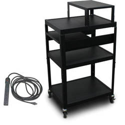 """Marvel Vizion Spartan Series MV2642 24 x 18"""" Height-Adjustable A/V Cart with with Expansion Shelf, 1 Pull-Out Side Shelf, & UL Listed 8-Outlet Electrical Unit (Black)"""