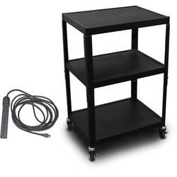 "Marvel Vizion Spartan Series MV2642 24 x 18"" Height-Adjustable A/V Cart with UL Listed 8-Outlet Electrical Unit (Black)"