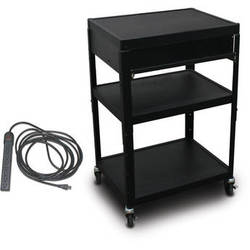 "Marvel Vizion Spartan Series MV2642 24 x 18"" Height-Adjustable A/V Cart with 1 Pull-Out Front Shelf & UL Listed 8-Outlet Electrical Unit (Black)"