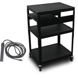 """Marvel Vizion Spartan Series MV2642 24 x 18"""" Height-Adjustable A/V Cart with 1 Pull-Out Side Shelf & UL Listed 8-Outlet Electrical Unit (Black)"""