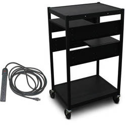 Marvel Vizion Spartan Series MVBFEE2418-02E Classroom Media Projector Cart with 2 Pull-Out Side Shelves and UL Listed 8-Outlet Electrical Unit (Black)