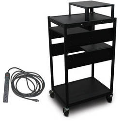 Marvel Vizion Spartan Series MVBFES2418-02E Classroom Media Projector Cart with 2 Pull-Out Side Shelves, Expansion Shelf, & UL Listed 8-Outlet Electrical Unit (Black)