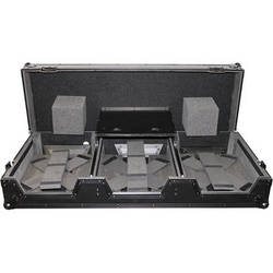 ProX DJ Coffin for 4-Channel DJ Mixer and 2x CD Players with Laptop Shelf and Wheels (Black-on-Black)