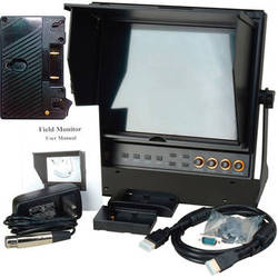"Delvcam 9.7"" Dual Input HDMI Monitor with AB Gold Mount Type Battery Plate & Sun Hood"