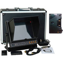 """Delvcam 9.7"""" 3G-SDI & HDMI Monitor with AB Gold Mount Type Battery Plate & Sun Hood"""
