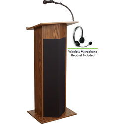 Oklahoma Sound 111PLS Power Plus Lectern with LWM-7 Headset Wireless Microphone (Medium Oak)