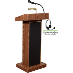 Oklahoma Sound 800X Orator Lectern with LMW-7 Headset Wireless Microphone (Medium Oak)
