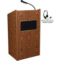 Oklahoma Sound 6010 Aristocrat Floor Lectern with LWM-7 Headset Wireless Microphone (Medium Oak)