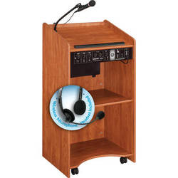 Oklahoma Sound 6010 Aristocrat Floor Lectern with LWM-7 Headset Wireless Microphone (Cherry)