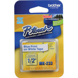 """Brother 0.47"""" Blue on White """"M"""" Labeling Tape (26.2', One Roll)"""