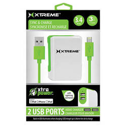Xtreme Cables 3.4 Amp Dual Port Home Charger with 8-pin Cable, 3' (Green)