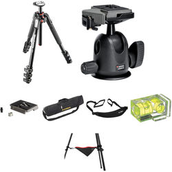 Manfrotto MT190XPRO4 Aluminum Tripod with 496RC2 Compact Ball Head Deluxe Kit