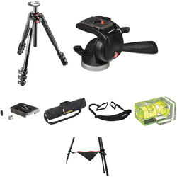 Manfrotto MT190XPRO4 Aluminum Tripod with 391RC2 Junior 3- Way Pan/Tilt Head Deluxe Kit