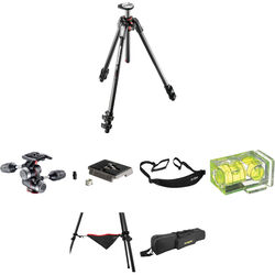 Manfrotto MT190CXPRO3 Carbon Fiber Tripod with MHXPRO-3W 3-Way Pan/Tilt Head Deluxe Kit