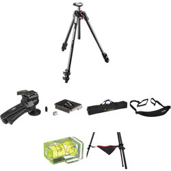 Manfrotto MT190CXPRO3 Carbon Fiber Tripod with 322RC2 Grip Action Ball Head Deluxe Kit