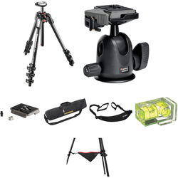 Manfrotto MT190CXPRO4 Carbon Fiber Tripod with 496RC2 Compact Ball Head Deluxe Kit