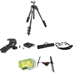 Manfrotto MT190CXPRO4 Carbon Fiber Tripod with 322RC2 Grip Action Ball Head Deluxe Kit
