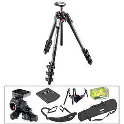 Manfrotto MT190CXPRO4 Carbon Fiber Tripod with 410 Junior Geared Head Deluxe Kit