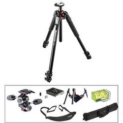 Manfrotto MT055XPRO3 Aluminum Tripod with MHXPRO-3W 3-Way Pan/Tilt Head Deluxe Kit