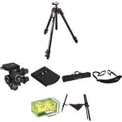 Manfrotto MT055CXPRO3 Carbon Fiber Tripod with 410 Junior Geared Head Deluxe Kit