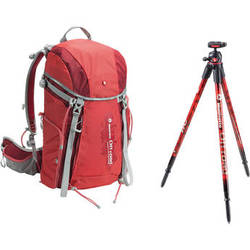 Manfrotto Off road Hiker 30L Backpack and Aluminum Tripod and Ball Head (Red)