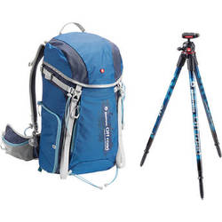 Manfrotto Off road Hiker 30L Backpack and Aluminum Tripod and Ball Head (Blue)