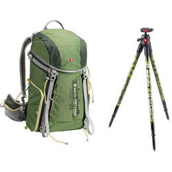 Manfrotto Off road Hiker 30L Backpack and Aluminum Tripod and Ball Head (Green)