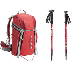 Manfrotto Off road Hiker 30L Backpack and Aluminum Walking Sticks (Red)