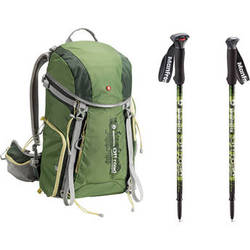 Manfrotto Off road Hiker 30L Backpack and Aluminum Walking Sticks (Green)