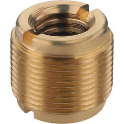 """Auray 5/8"""" Male to 3/8"""" & 1/4""""-20 Female Combo Reversible Thread Adapter (Brass)"""