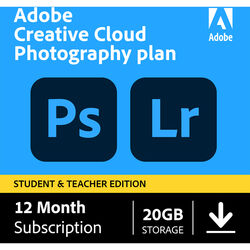 Adobe Creative Cloud Photography Plan (12 Month Subscription, Student and Teacher Edition, Download)