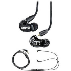 Shure SE215 Sound-Isolating In-Ear Stereo Earphones and Music Phone Accessory Cable Kit (Black)
