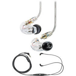 Shure SE215 Sound-Isolating In-Ear Stereo Earphones and Music Phone Accessory Cable Kit (Clear)