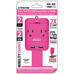 Xtreme Cables 2-Outlet Wall Tap with Dual USB Ports and Shelf (Pink)