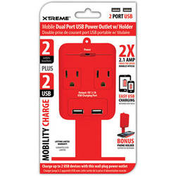 Xtreme Cables 2-Outlet Wall Tap with Dual USB Ports and Shelf (Red)
