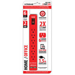 Xtreme Cables Home/Office Power Strip with Dual Port USB (Red)