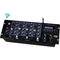 Pyle Pro PYD1962BU 4-Channel Bluetooth DJ Mixer with USB Flash/SD Memory Card Readers/LCD Digital Display