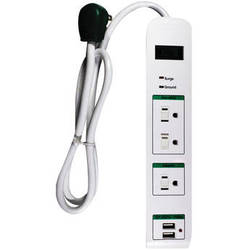 Go Green 3-Outlet Surge Protector with USB Ports (3' White)