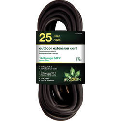 Go Green 15A 125V Outdoor Extension Cord (25', Black)