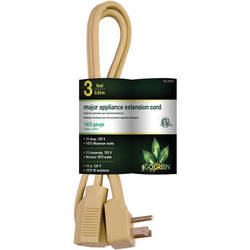 Go Green 3-Outlet Major Appliance Extension Cord (3', Beige)